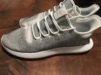 pair of gray-and-white Adidas running shoes Blaine, 37709