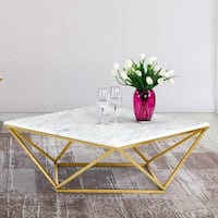 Beautiful White Marble/Gold Geometric Coffee Table Washington, 20001