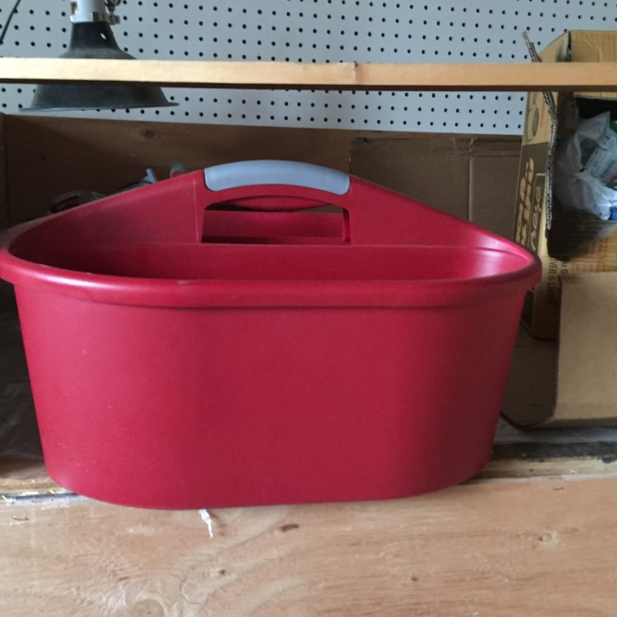 Red and white plastic container