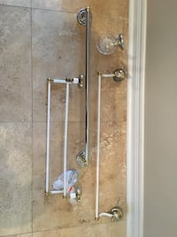 "Two 24"" towel bars, one 18"" double rung towel bar, soap dish, toilet roll holder and coat hook"