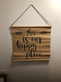"""""""This is our happy place"""" sign. 2'6"""" wide 2'3""""long. Pick up and cash only. Thanks! Centreville, 20120"""