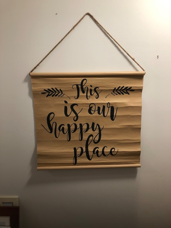 """""""This is our happy place"""" sign. 2'6"""" wide 2'3""""long. Pick up and cash only. Thanks!"""