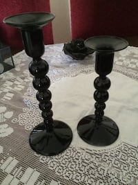 Black glass candle holders  Lund, 224 72