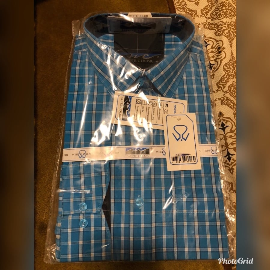 Blue and white plaid button-up shirt 62ee5242-71ea-45a3-afb7-b4e7cb6abd08