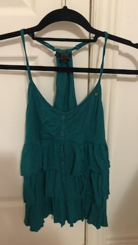 Green halter top ruffled shirt