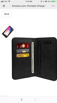 Portable Charger Wallet,Smart qi Wireless Power Bank 6800mAh Leather Wallet Pouch Built-in USB Cable Type-C/iOS Adapter for Android iOS (Black Springfield, 22153