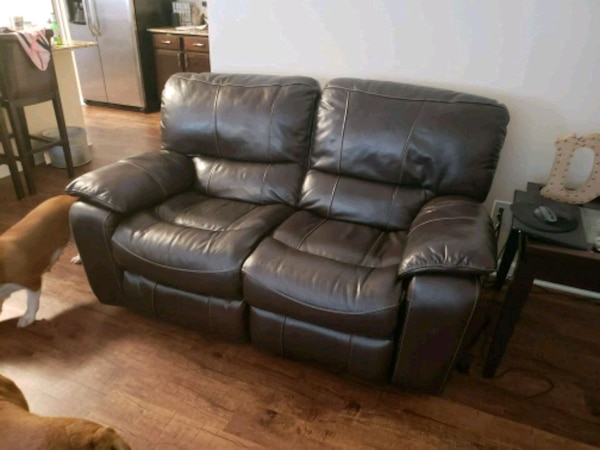 Used brown leather 3-seat recliner sofa for sale in Dallas - letgo