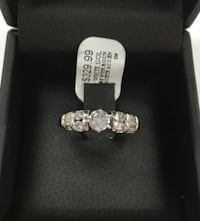 14K White Gold Solitaire with around & Baguette Diamond Ring West Jordan