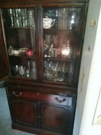 brown wooden framed glass display cabinet Warners, 13164