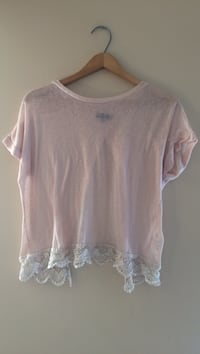 Pink and white lace crop top