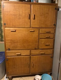Antique Tiger Oak storage cabinet