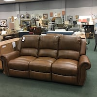 """Bitter Root Gel Leather Double Reclining Sofa and Loveseat. Sofa- 86""""W x 39""""D x 41""""H, Loveseat- 64""""W x 39""""D x 41""""H. May be Purchased separately . Sofa $839, Loveseat $669 Heath, 43056"""