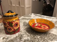 """Pier 1 Imports Handpainted Terracotta Serving dish (11.5"""") and cookie jar"""