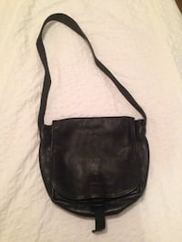 Roots black leather cross body bag