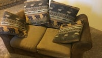 brown and white fabric sofa Windsor, 80550
