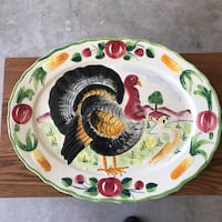 "Vintage Hand Painted Turkey Platter 21""x16"" Made in Italy Newport News, 23606"