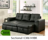 black tufted sectional couch with ottoman La Mirada, 90639