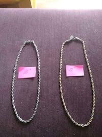 two Sterling and two tone silver chain