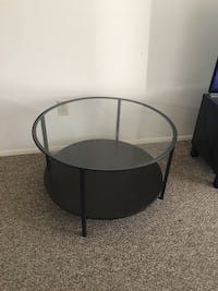 round black wooden framed glass top table Kelowna, V1Y 1W1