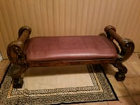 ottoman.Beautiful solid wood and leather Weston