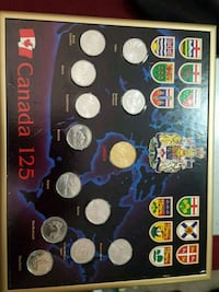 1992 coin set in hanging frame. Calgary, T2Y 2W5
