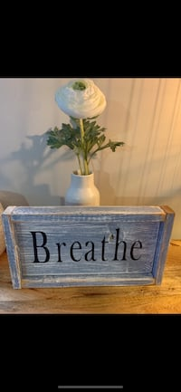 Reclaimed Wood Weathered 'Breathe' themed Wall Plaque - Vintage Blue Richmond, V7E 6S2