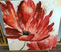 Red Flower Textured Painting Picture