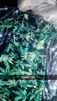 size small black and green cannabis printed crew-neck long-sleeved dress