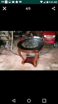 TABLE Wood Iron and Glass Wadsworth