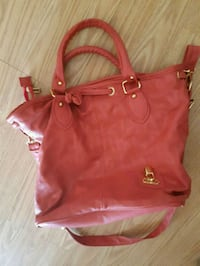women's red leather tote bag Mirabel, J7N 0L8