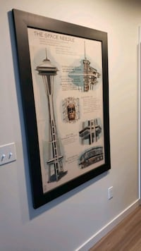 Large Space Needle Architectural Framed Poster