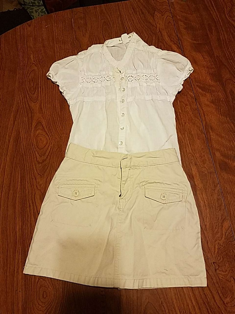 Gap khaki skirt/white shirt combo. Size 6