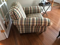 Ethan Allen Classic Plaid Armchairs in Purple, Green, Tan and Yellow Waldorf, 20603
