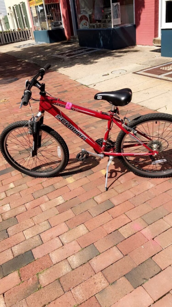 Red and black Schwinn mountain bike