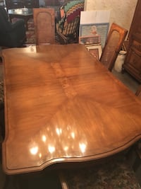 Dining room table with  6 cane back, 2 leafs and table pads New York, 11232