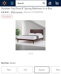 """Zinus Queen Size Bed Frame with 8"""" Mattress *FREEBIES Included* Boston, 02135"""
