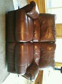 brown leather reclining love seat and matching rec 543 mi