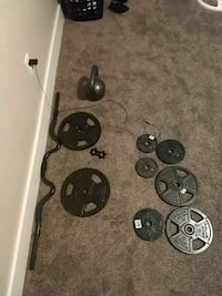 black and gray barbell and dumbbell set Lehi, 84043