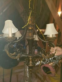 Chandelier with cream shades on candlesticks  Moore, 73160