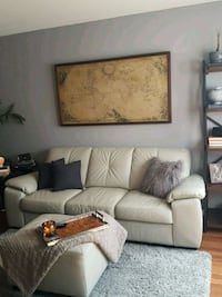 Light gray leather 3-seat sofa and ottoman Ajax, L1S 6E3