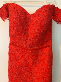Red off the the shoulder gown Toronto