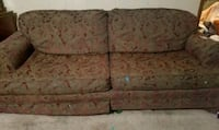brown and white floral fabric 2-seat sofa Magee