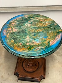 """Small round epoxy top end table or accent table 20""""H x 18"""""""
