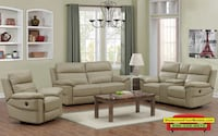 Rockhill 3-piece Top Grain Leather Power-Reclining Living Room Set Irvine