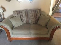 Brown fabric sofa and loveseat combo