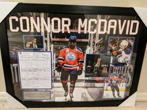 Framed Connor McDavid First hat trick score score sheet and photos