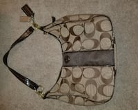 brown and black Coach monogram hobo bag WASHINGTON