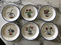6 Blue Ridge Southern Pottery French Dessert Plates ~ PV Parry Vieille Made in France ~ Langage des Fleurs ~ Vintage Dinnerware Los Angeles, 90272