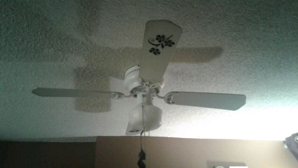 EUC White /black ceiling fan, Clean & Ready to Go. 7789045b-3f38-4f42-9b7c-854471cf9c21