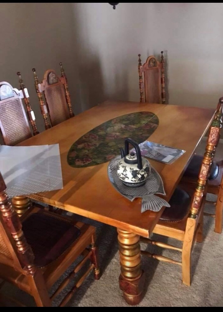 used brown wooden dining table set for sale in phoenix letgo rh tr letgo com